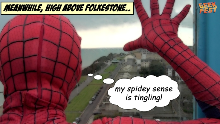 Spiderman is going to GEEKFEST at the Leas Cliff Hall