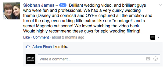 OYFE Productions - Testimonials - Wedding Videography