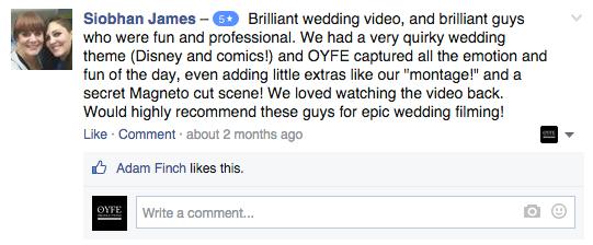 OYFE Productions - Testimonials - Wedding Videography
